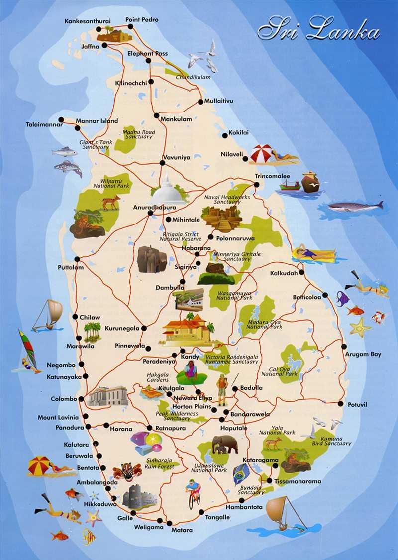 نقشه توریستی سریلانکا