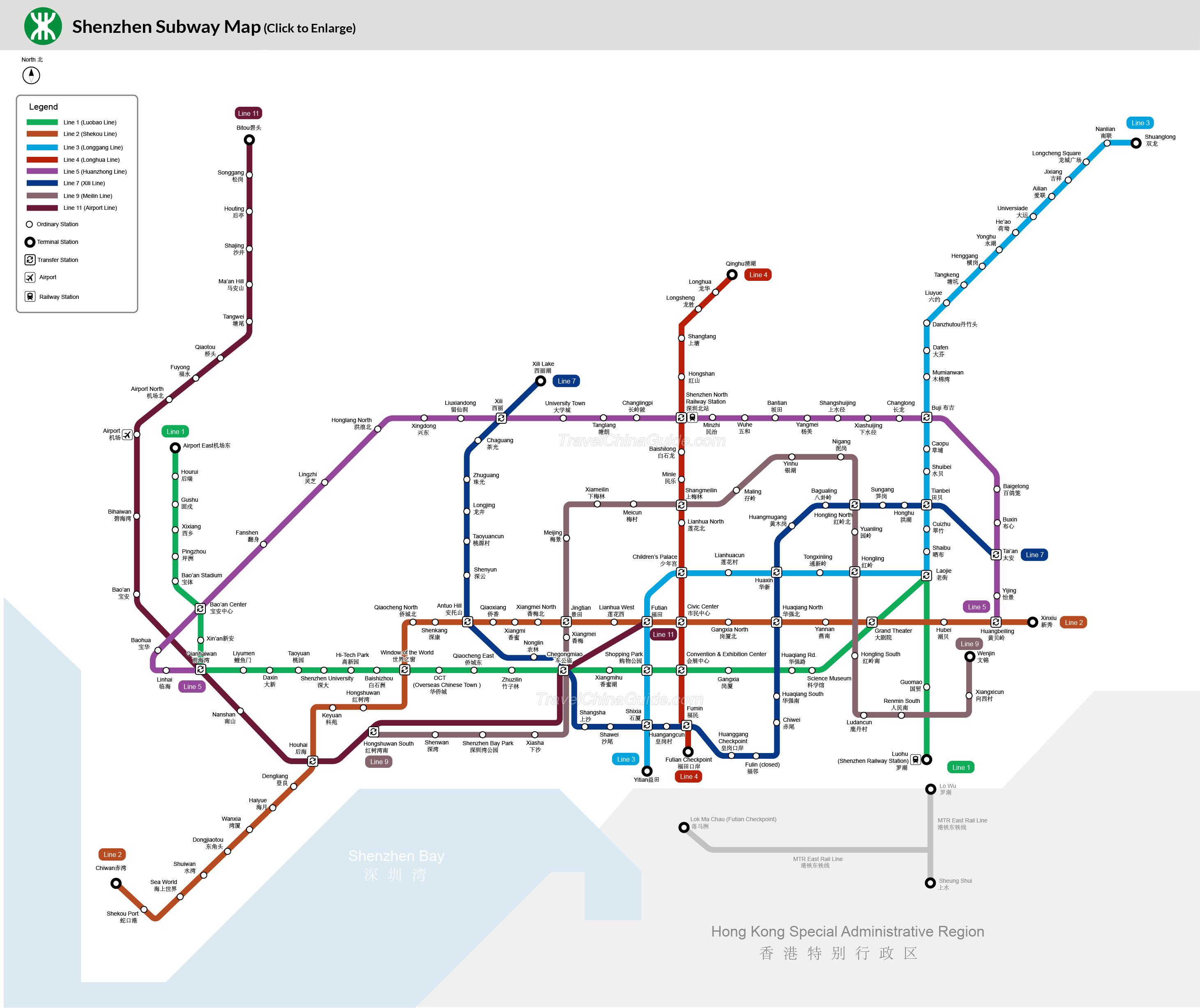 نقشه مترو شنزن چین