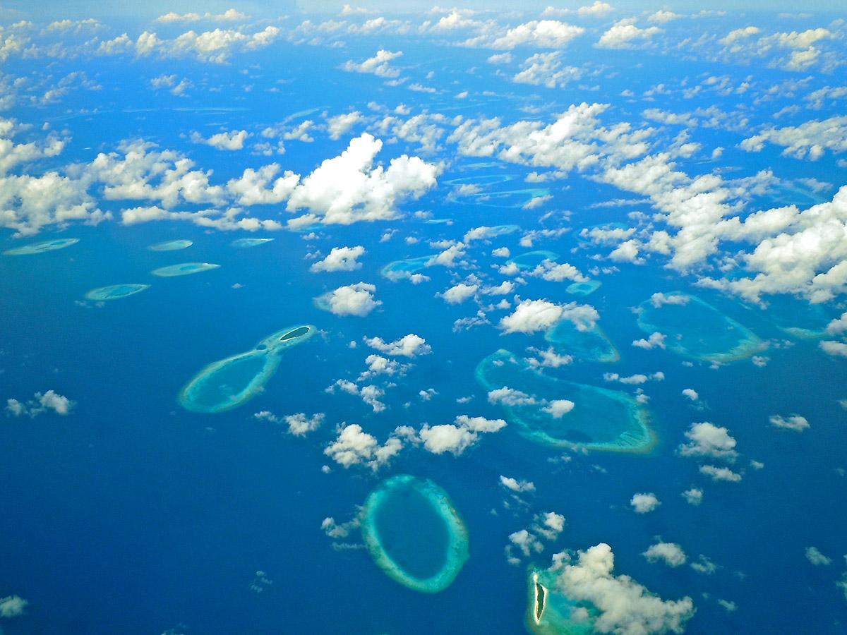 منظره جزایر مالدیو از فراز آسمان