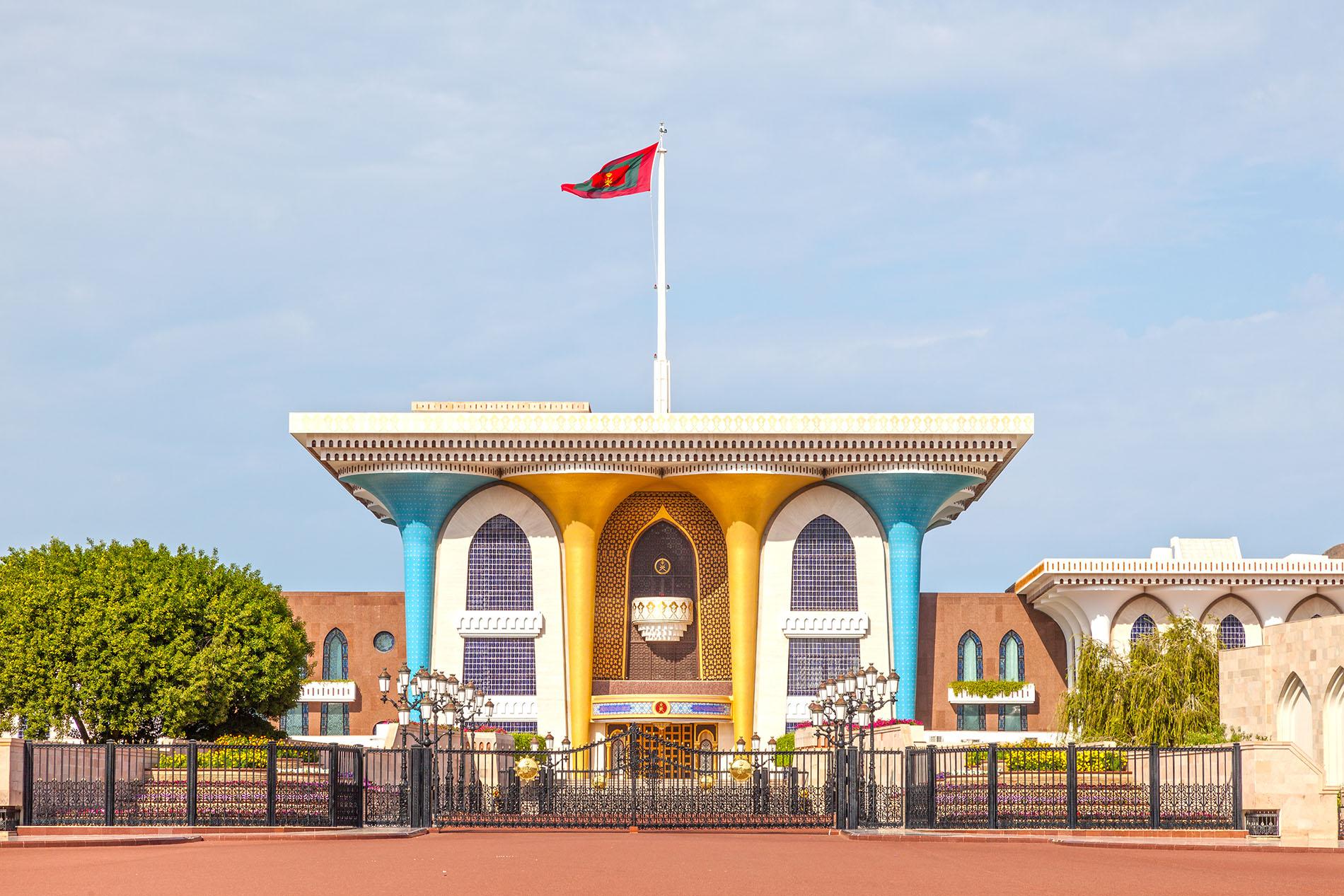 Muscat, Oman - Nov 24, 2015: Al Alam - the ceremonial palace of Sultan Qaboos of Oman in Muscat